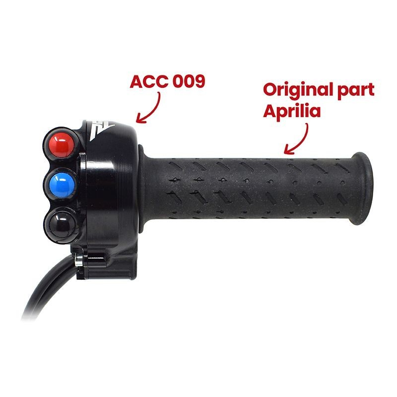 Throttle twist grip with integrated controls for Aprilia RSV4