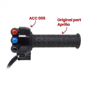Throttle twist grip with integrated controls for Aprilia