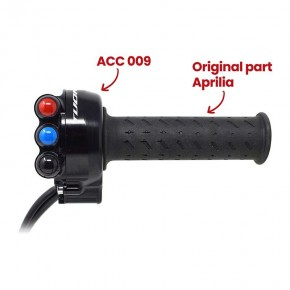 Throttle twist grip with integrated controls for Aprilia Tuono V4