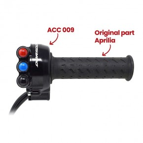 Throttle twist grip with integrated controls for Aprilia Dorsoduro