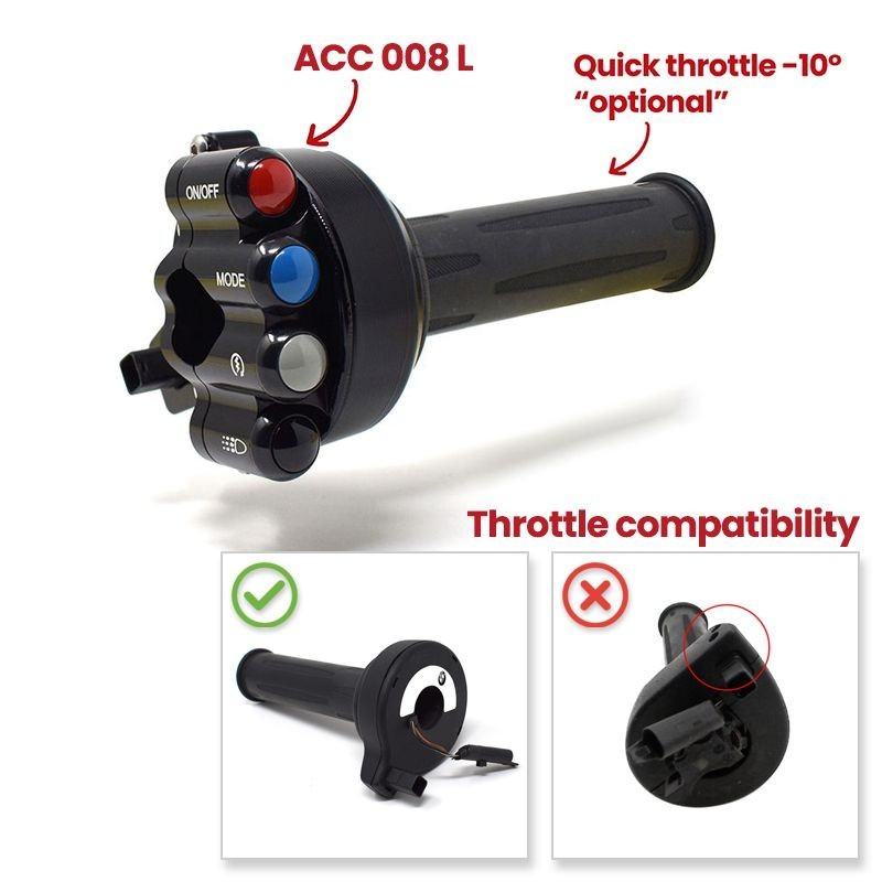 Throttle twist grip with integrated controls for BMW RR (Racing)