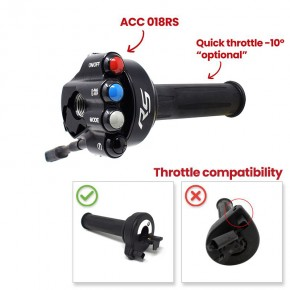 Throttle twist grip with integrated controls for BMW RS
